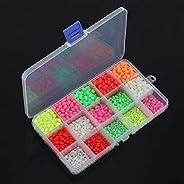 OriGlam 1500pcs Fishing Beads Assorted, Luminous Glow Fishing Beads Kit, Plastic Oval Beads Fishing Tackle, Lu