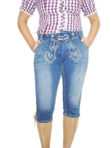 Con Rodilla Para 4 Los Estilo Vestuario Vaqueros Pantalones Azul 3 Mujer De La Traje zFwqC1C