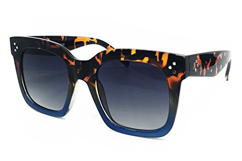 O2 Eyewear 7222 Premium Oversize XXL Women Men Mirror Revo Havana Tilda Shadow Style Fashion Sunglasses (BROWN / NAVY, TILDA ()
