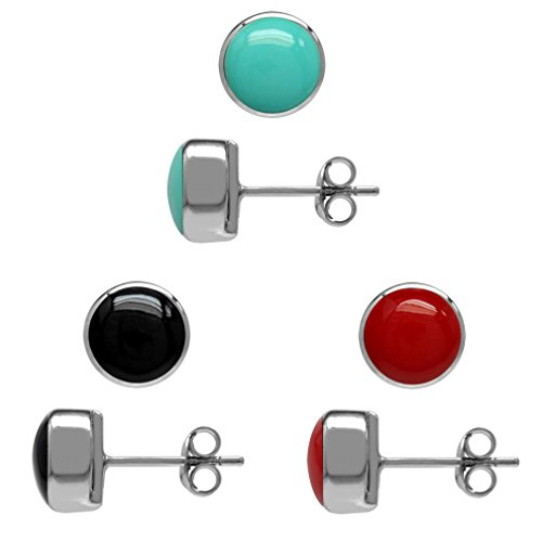 3-Pair Set Created Turquoise, Created Onyx & Coral White Gold Plated 925 Sterling Silver Stud - Coral Turquoise Stud