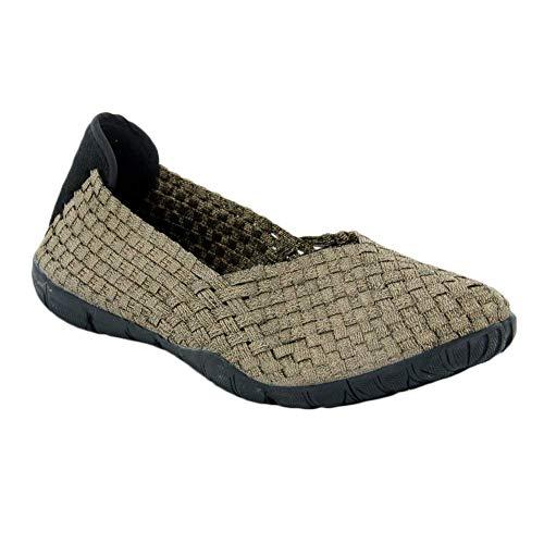 On Slip Bronze (Corkys Womens Sidewalk Memory Gel Comfort Slip-on Flats in Bronze - 8)