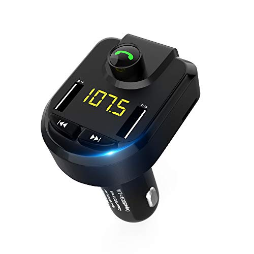Icon Universal Mp3 - Wireless Bluetooth FM Transmitter Radio Adapter Car Kit, Virwir Mp3 Music Stereo Adapter Universal Cigarette Lighter Hole Play and Plug, Support TF Card and U Disk, 5V / 4.1A Dual USB Car Charger