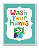 The Kids Room by Stupell Wash Your Hands On Blue Background Rectangle Wall Plaque, 11 x 0.5 x 15, Proudly Made in USA