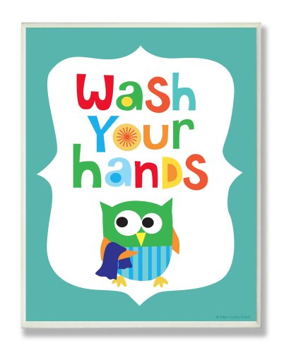 The Kids Room by Stupell Wash Your Hands On Blue Background Rectangle Wall Plaque, 11 x 0.5 x 15, Proudly Made in USA by The Kids Room by Stupell