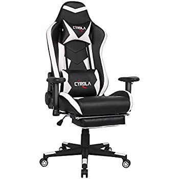 Cyrola Large Size Real PU Leather High Back Comfortable Gaming Chair with Footrest PC Racing Chair with Lumbar Support Headrest Ergonomic ...