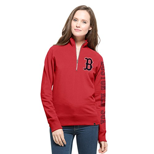 MLB Boston Red Sox Women's '47 Shimmer Cross-Check 1/4-Zip Pullover Jacket, Medium, Rescue - Hooded Red Sox Boston Jacket