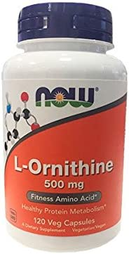 NOW Supplements, L-Ornithine L-Ornithine Hydrochloride 500 mg, Amino Acid, 120 Veg Capsules
