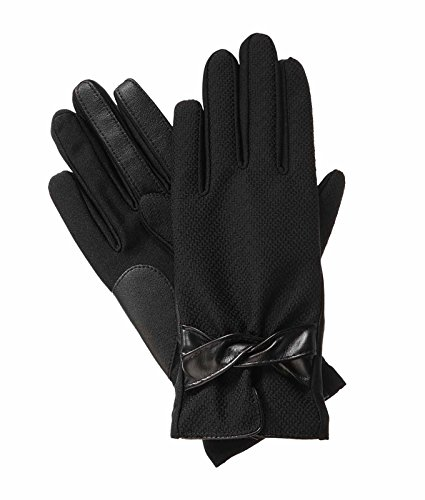 Isotoner Women's SmarTouch Fleece Lined Dobby Stretch Gloves - Black - XS/SM