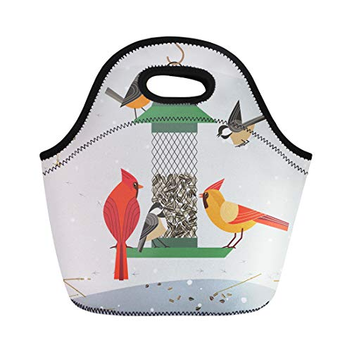 Semtomn Neoprene Lunch Tote Bag Cute Birds Red Northern Cardinal Chickadee Robin Comic Cartoon Reusable Cooler Bags Insulated Thermal Picnic Handbag for Travel,School,Outdoors, Work