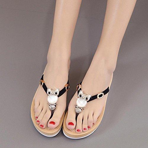 Transer Ladies Owl Decor Flat Flip Flops Slippers Fashion Women Comfortable Casual Sandals Beach Sandals Shoes Black HLKEkPV