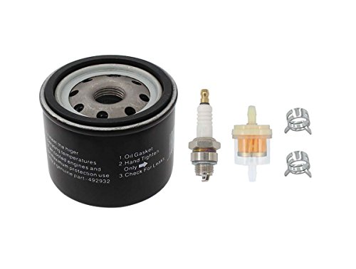 Photo Oil Filter Fuel Spark Plug For Craftsman LTX1000 LT2000 John Deere L110 D110 L118 LA120 D125 Lawn Mower Tractor Briggs & Stratton 14 20 HP V-twin Engine 122600 123600 OHV 115-170 492932S