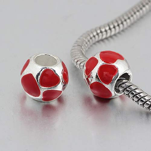 Calvas 1pc Silver European red Full Heart Heart Big Hole Bead Charm Fits Charm Bracelets A128