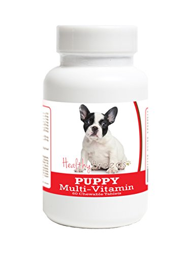 Healthy Breeds Multivitamin for Puppy for French Bulldog - Over 100 Breeds - Veterinarian Formulated Daily Dietary Supplement - Liver Flavored Treats - 60 Chews ()