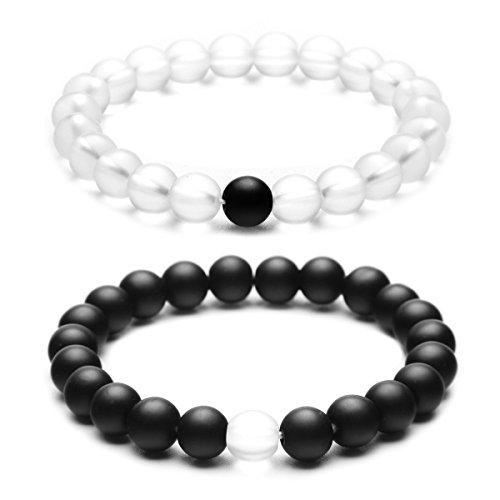 Best Friends Bead (YUXI 2 PCS/Set 8 mm Beads Stone Couple Distance Strand Bracelet Lovers Gifts Jewelry (Black & Clear))