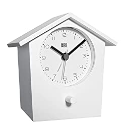 KOOKOO EarlyBird White, Bird Voice Alarm Clock with Real Bird Voices and a Three-Tone gong; MDF Wood Cabinet; Wake up in Nature and with Natural Field Recordings
