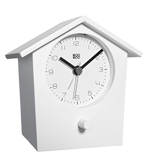 (KOOKOO EarlyBird White, Bird Voice Alarm Clock with Real Bird Voices and a Three-Tone gong; MDF Wood Cabinet; Wake up in Nature and with Natural Field Recordings)
