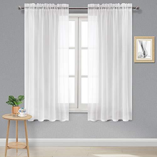 Linen Look Window - DWCN Sheer Curtains Linen Look Rod Pocket Curtain Panels White Bedroom Window Curtains,Set of 2 Panels, 52 x 72 inches Long Curtains
