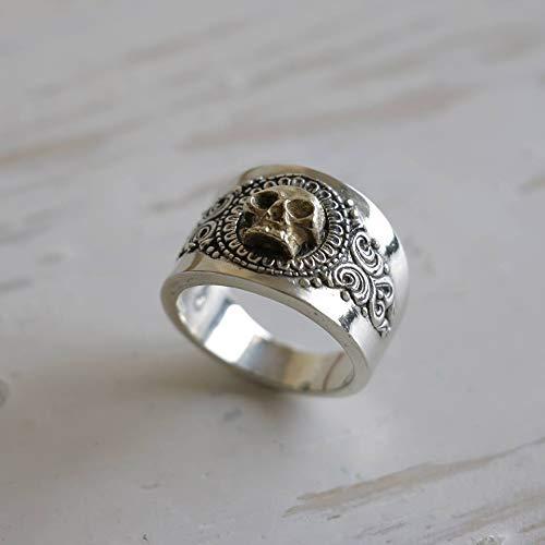 grim Reaper skull ring sterling silver biker Gothic Pirate memento mori men brass viking celtic