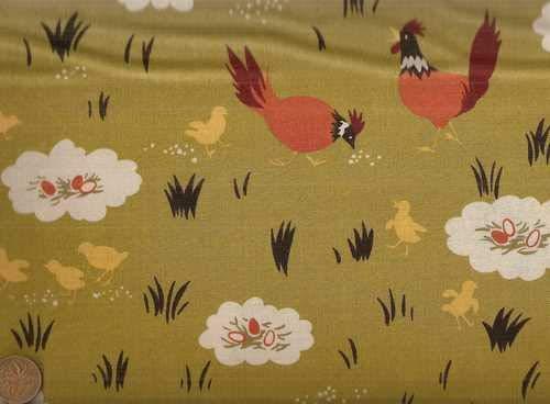 Farmyard Eggs Chickens Sentimental Studios Moda Fabric ()