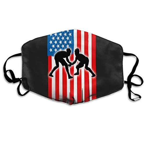 American Flag Wrestling Breathable Mouth Masks Cover for Men Women Dustproof Anti-Bacterial Reusable Windproof Thermal Mask Respirator]()