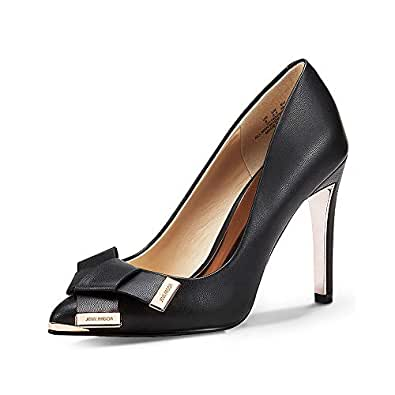JENN ARDOR Women's Stiletto High Heel Pumps Pointy Toe Bowknot Slip On BridalWedding Shoes Black Size: 6