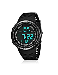 Mens Digital Sport Watch, Military Black Watches, Army Electronic Casual Wristwatch with Luminous Calendar Stopwatch Alarm EL Backlight Waterproof for Running Diving Swimming (Black)