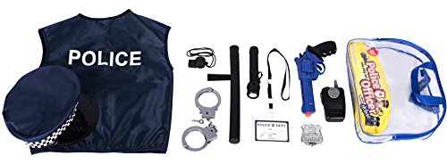 Police Costume for kids with Toy Role Play Kit with Bag Included (Play Costumes)