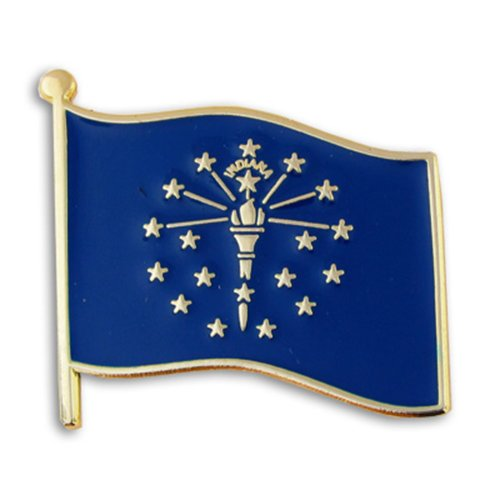 PinMart's Indiana US State Flag IN Enamel Lapel Pin 1""