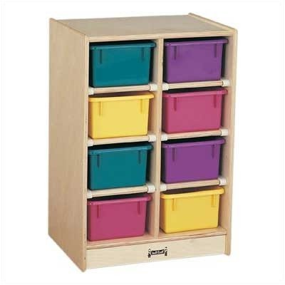 Jonti-Craft 0606JC 8 Cubbie-Tray Mobile Unit with Colored Trays