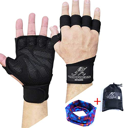 SZTOPFOCUS Men Weight Lifting Gym Gloves- Ventilated Workout Gear with Wrist Wrap Support for Fitness, Pull-ups, Barbell, Dumbbell Exercise (M)
