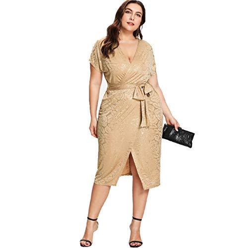 (ESPRLIA Women's Plus Size Sequin Party Club Cocktail Maxi Dress (Wrap Style, 1XL))