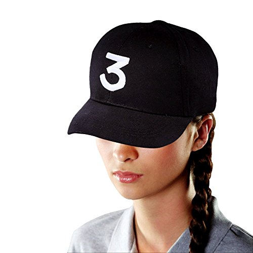 Chance 3 Baseball Cap, Embroidered Number 3 Cool Rapper Hat for Sport Causal, Personalized Hipster, Hip Hop, Low Profile Plain Black