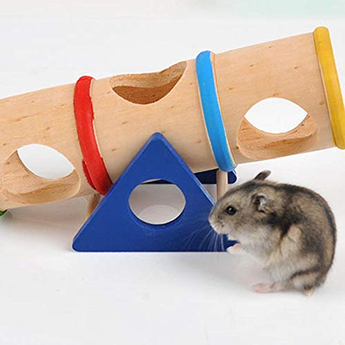 Aolvo Hamster Seesaw, Small Animal Playground - Wooden Cylinder Tunnel Hamster Seesaw Toy Syrian/robo/Mouse/Djungarian /Dwarf Hamster Mic Small Animal ()