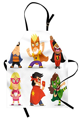 Lunarable Superhero Apron, Children Dressed as Superheroes Kids Playroom Girls Boys Nursery Babyish Picture, Unisex Kitchen Bib Apron with Adjustable Neck for Cooking Baking Gardening, Multicolor -