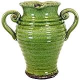 UTC 76043 Green Ceramic Vase with Tuscany Accent