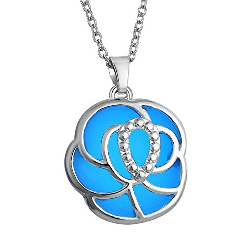Dazzle Flash silver plated rose pendant glowing necklace for girl womens N302-15 - Orb Small Pendant