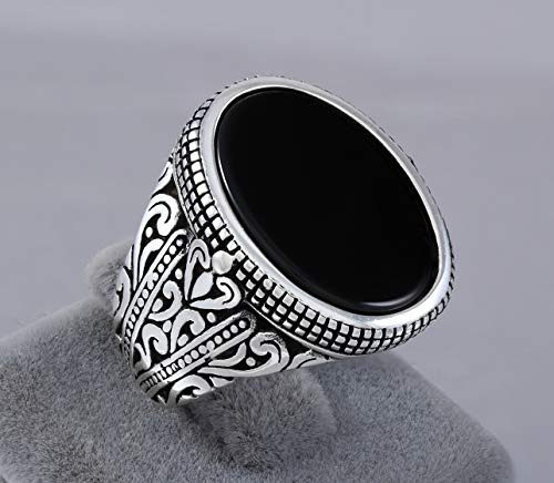 - 925 Sterling Silver Ring for Men with Oval Black Onyx Stone Turkish Handmade Mens Jewelry Male Rings Size 9.5