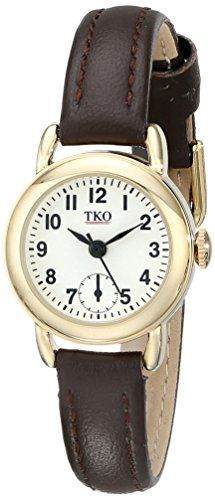 TKO  Women's Small Face Brown Leather Gold Watch TK658BR