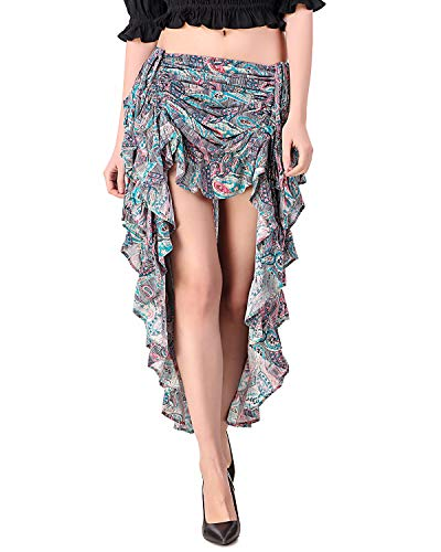 Skirt Gypsy Printed - ThePirateDressing Steampunk Victorian Gothic Womens Costume Show Girl Skirt (Printed Rayon (Design# 1)) (Small (Waist 24