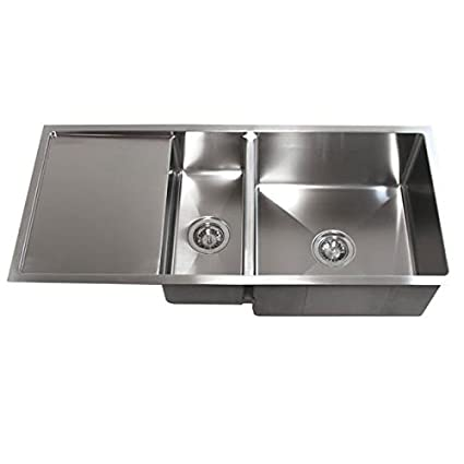 Contempo Living Inc 42 Inch Double Bowl Undermount 15mm Radius Kitchen Sink  With 13