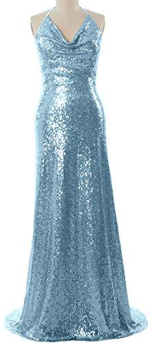 MACloth Women Halter Cowl Neck Formal Gown Long Wedding Party Bridesmaid Dress Cielo azul