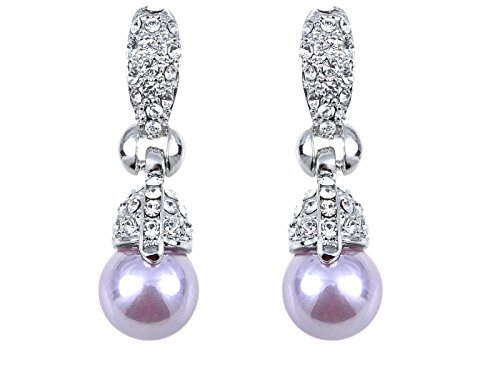 Alilang Silvery Tone Pink Faux Pearl Clear Crystal Rhinestone Dangle Drop Earrings