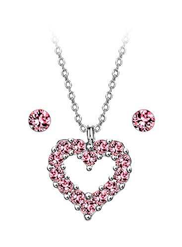 Silverplate Heart Box (Neoglory Jewelry Silver Made With SWAROVSKI Elements Pink Heart Necklace and Earrings for Sensitive Skin)