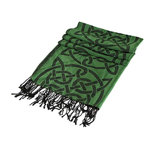 Traditional Pashmina Scarf With Celtic Knotwork Design Dark Green