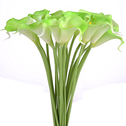 Luyue Calla Lily Bridal Wedding Bouquet Head Lataex Real Touch Flower Bouquets Pack of 20 (Green) (Green Bouquets Bridal)