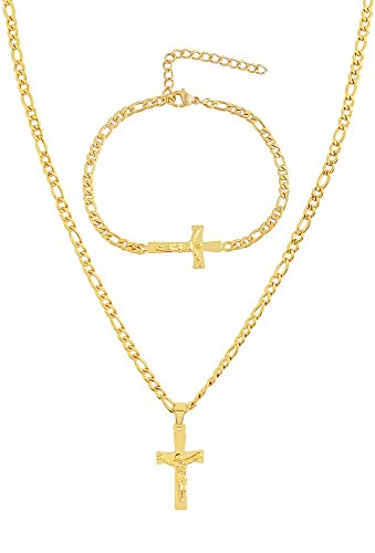 EDFORCE Stainless Steel Womens Mens 14K Gold Plated 20 inch Figaro Link Chain Necklace with | Crucifix Cross Pendant | and Matching Bracelet