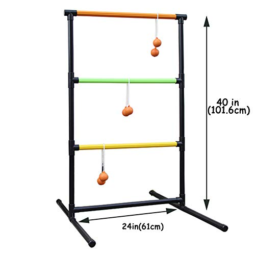 Juegoal Upgrade Ladder Toss Game Set Ladder Ball Game with 6 Bolas, Carrying Case for Indoor or Outdoor Yard Beach