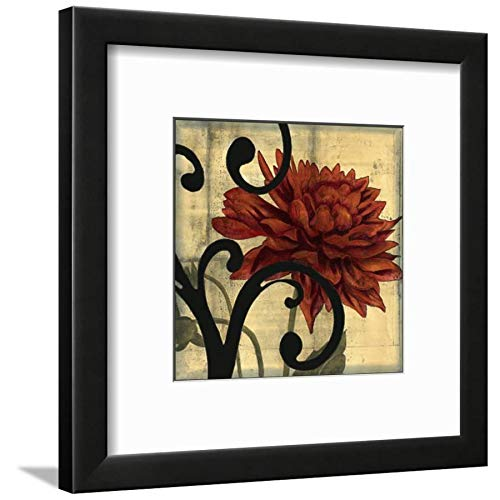 ArtEdge Dahlias Scrolls IV Jennifer Goldberger, Black Framed