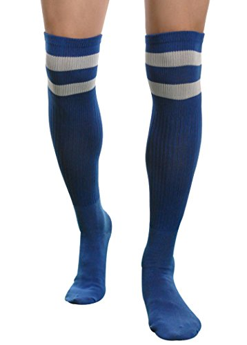 Mens Striped Over Knee Long High Soccer Basketball Running Rugby Atheletic Socks (Dark Blue)