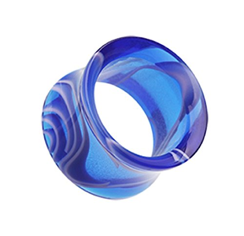 Marble Swirl Acrylic Double Flared Ear Gauge Freedom Fashion Tunnel Plug (Sold by Pair) (5/8